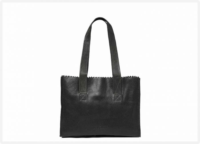 6b64d01b377 MYOMY My Paper Bag Handbag zip - Rambler black - eco leren tas - fairtrade  geproduceerd