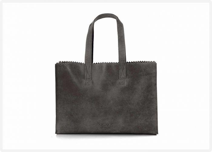 424d6ac3f0f MYOMY My Paper Bag Go Bizz - Hunter off black - eco leren aktetas - eco